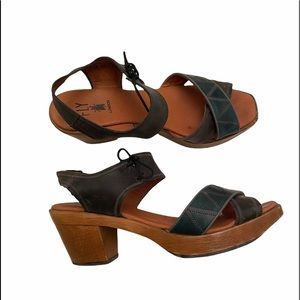 Fly London leather wooden sandals size 40